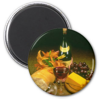 Pink Bottle of red wine, grapes, bread, cheese and Magnet