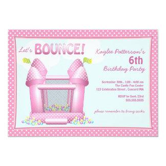 "Pink Bouncy Bounce House Birthday Party Invitation 5"" X 7"" Invitation Card"
