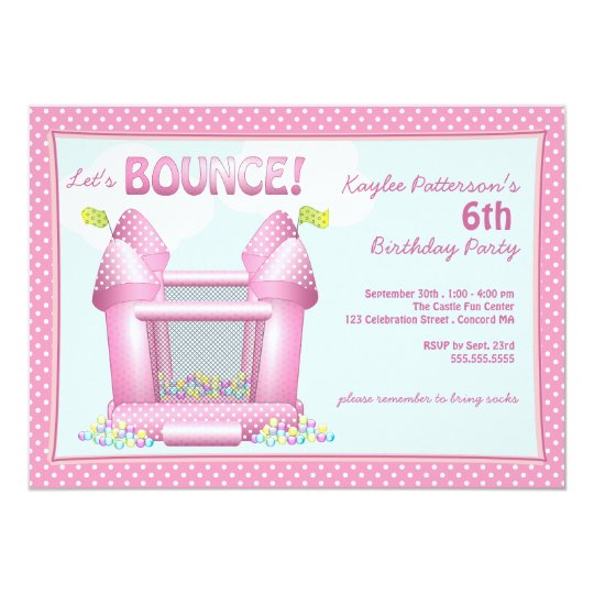 Pink Bouncy Bounce House Birthday Party Invitation