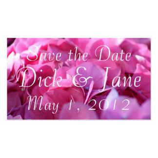 pink bounty Save the Date Business Cards