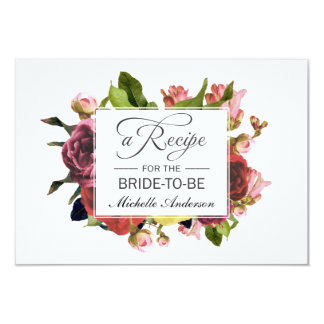 Pink Bouquet Floral Recipe Card