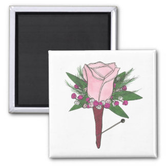 Pink Boutonniere Rose Wedding Prom Flower Magnet