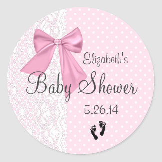 Pink Bow and White Lace Baby Shower Favor Round Sticker