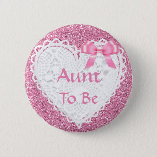 Pink Bow Aunt to be Baby Shower Button