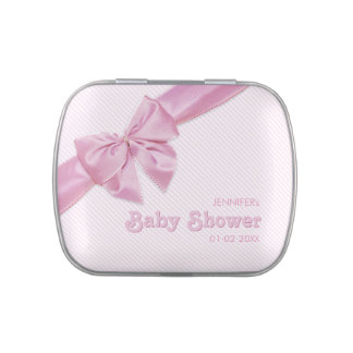 Pink Bow Baby Shower Girl Personalized candy tin