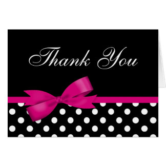 Pink Bow Black Polka Dots Thank You Note Card