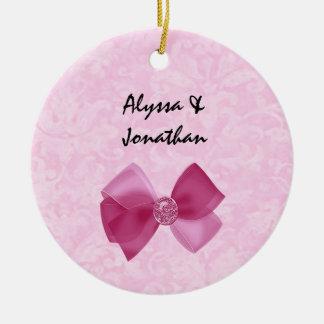 Pink Bow Bride and Groom Custom Name Wedding V2 Round Ceramic Decoration
