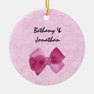 Pink Bow Bride and Groom Custom Name Wedding V3 Round Ceramic Decoration