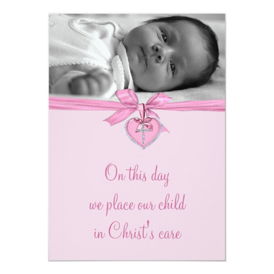 Pink Bow Cross Baby Girl Photo Christening Card