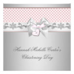 Pink Bow Cross Girls Pink Baptism Chirstening Invite