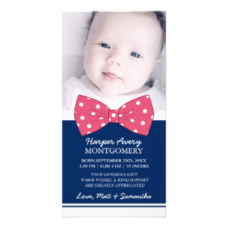 Pink Bow Custom Photo Baby Shower Thank You Card