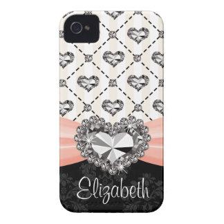 Pink Bow Diamond Heart Rhinestone iPhone 4 Case Co