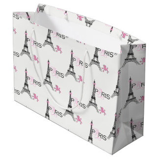 Pink Bow Eiffel Tower Paris France Poodle Chic Large Gift Bag