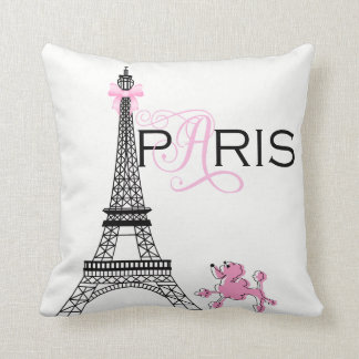Pink Bow Eiffel Tower Paris France Poodle Custom Cushion