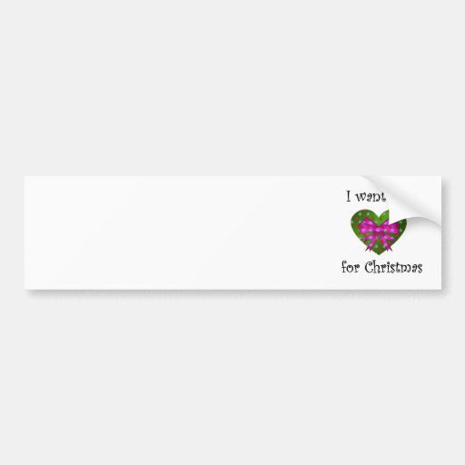 Pink bow i want you for christmas bumper sticker