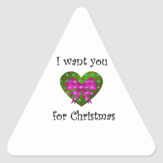 Pink bow i want you for christmas triangle sticker