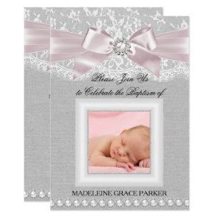 Baptism invitations announcements zazzle pink bow lace photo baptismchristening invite stopboris Choice Image