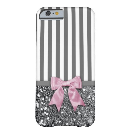 Pink Bow on Grey Sparkle Stripes Barely There