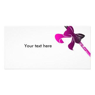 pink bow custom photo card