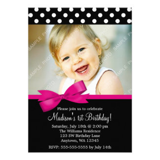 Pink Bow Polka Dots 1st Birthday Girl Photo Announcements
