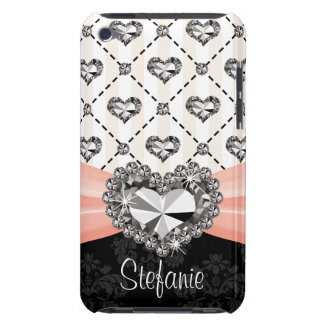 Pink Bow Rhinestone Heart Diamond iPod Touch 4 Cas iPod Touch Case-Mate Case