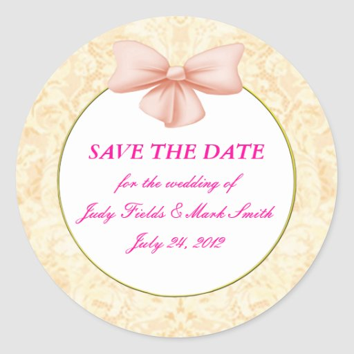 Pink Bow Save The Date Stickers