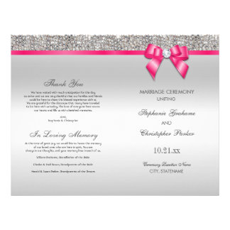 Pink Bow Silver Sequins Wedding Ceremony Program 21.5 Cm X 28 Cm Flyer
