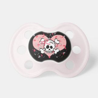 Pink Bow Skull and Crossbones Pacifier