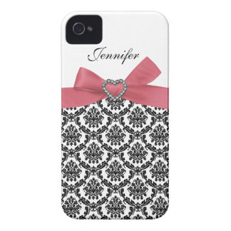 Pink Bow with White Damask iPhone Case iPhone 4 Case-Mate Cases