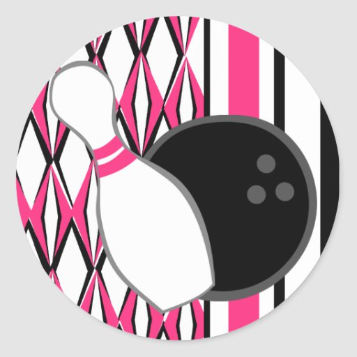 Pink Bowling Party Stickers