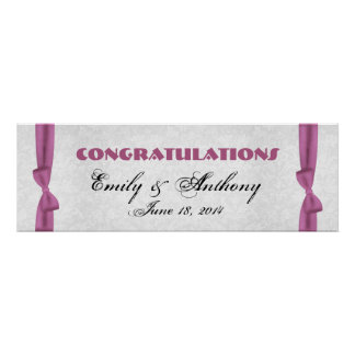 Pink Bows Wedding or Engagement Banner Poster