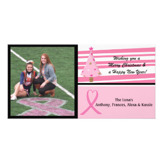 Pink Breast Cancer Awareness Photo Christmas Card Custom Photo Card