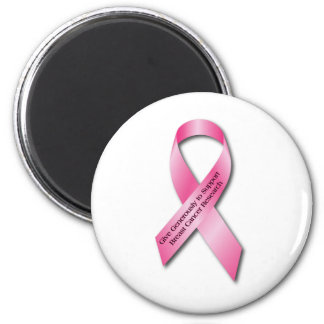 Pink Breast Cancer Awareness Ribbon 6 Cm Round Magnet