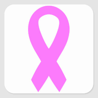 Pink Breast Cancer Awareness Ribbon Square Sticker