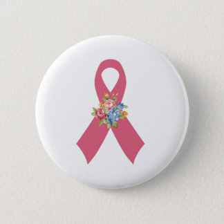 Pink Breast Cancer Awareness Ribbon with Blue Rose 6 Cm Round Badge