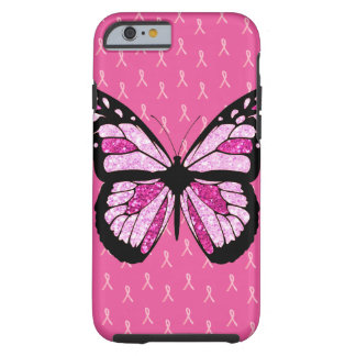 Pink Breast Cancer Ribbons and Butterfly Cell Case