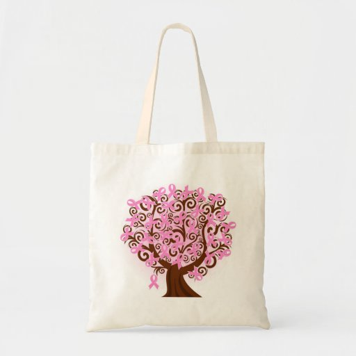 Pink breast cancer tree Budget Tote Bags