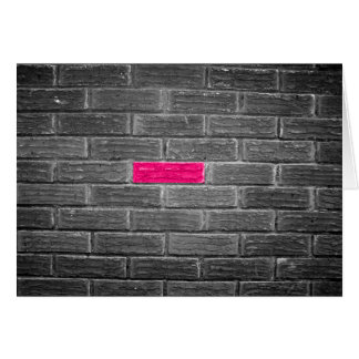 Pink Brick In A Black & White Wall Card