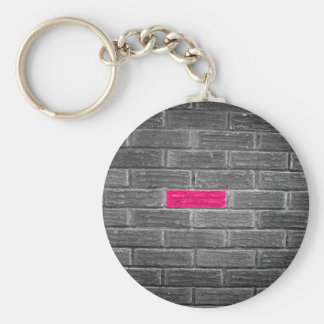 Pink Brick In A Black & White Wall Key Ring