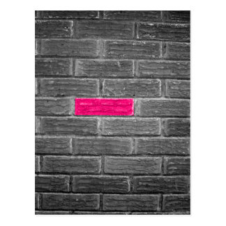 Pink Brick In A Black & White Wall Postcard