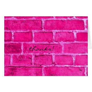 pink brick thank you card