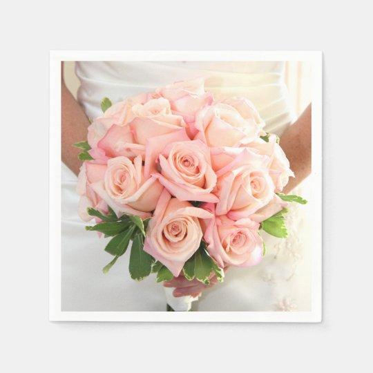 Pink Bridal Roses Napkins Paper Napkin