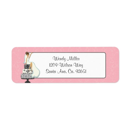 Pink Bridal Shower Return Address Labels