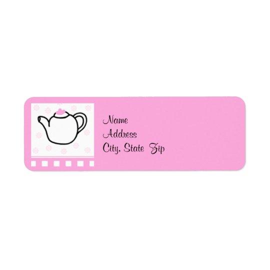 Pink Bridal Shower Tea Party Return Address Label