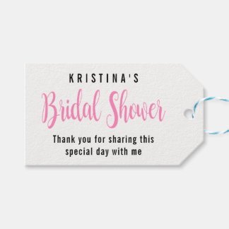 Pink Bridal Shower Typography Watercolor Thank You Gift Tags