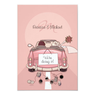 Pink Bride and Groom Getaway Car - RSVP Cards 9 Cm X 13 Cm Invitation Card