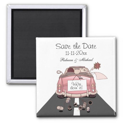 "Pink Bride and Groom Getaway car ""Save the Date"" Magnets"