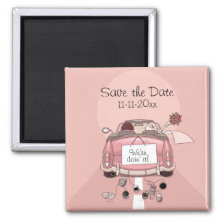 Pink Bride and Groom Getaway car Save the Date Magnets