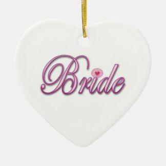 pink bride bachelorette wedding bridal shower ceramic heart decoration