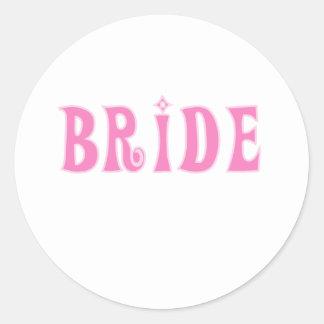 Pink Bride Round Sticker